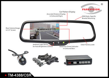 12V 4.3 Inch Rear View Parking Mirror With PC7070 Color CMOS Image Sensor