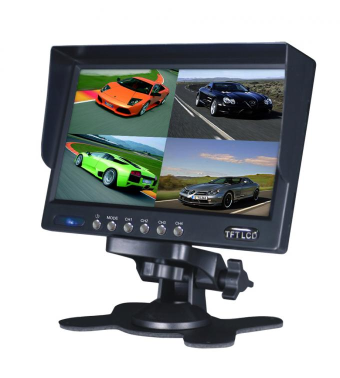 Standalone Quad TFT LCD Bus Rear View Camera Monitor 7 Inch With Sunshade