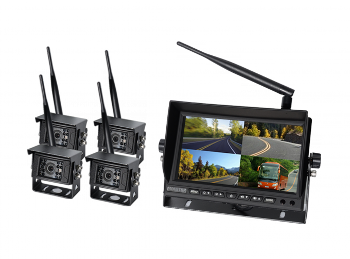 Digital  2.4G Wireless Quad Truck / Bus Monitoring System With OSD Control