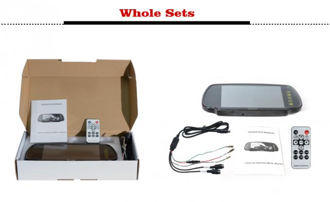 12 - 24V Truck Rear View Camera , 7 Inch Screen Rear View Mirror Monitor With 4 Way Inputs