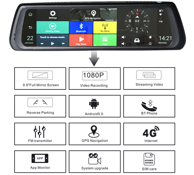 Android 5.0 Car Rearview Mirror DVR Full HD 1080P WIFI GPS G-sensor Recycle Recording