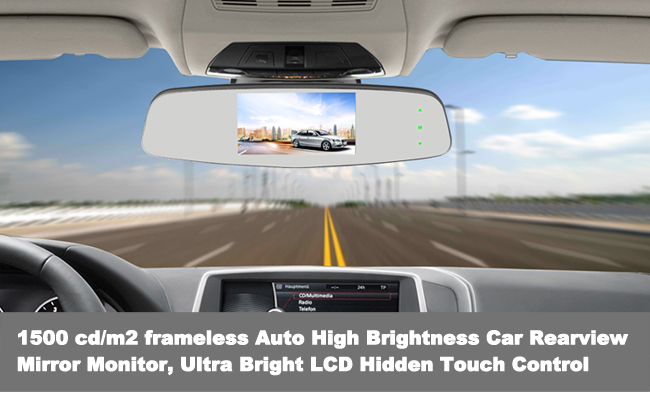 Auto High Brightness Car Rearview Mirror Monitor Ultra Bright LCD Hidden Touch Control